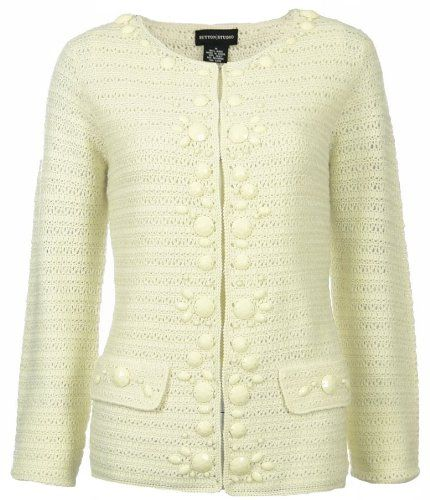 Sutton Studio Womens Wool Crochet Cardigan Sweater Misses (Large ...