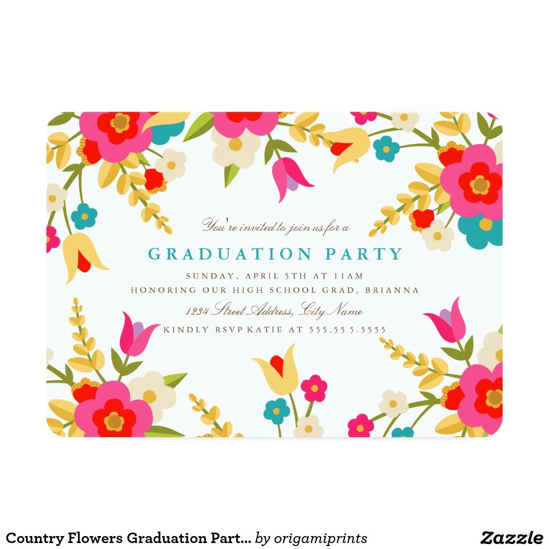 Country Flowers Graduation Party Invite   Party Time! Excellent ...