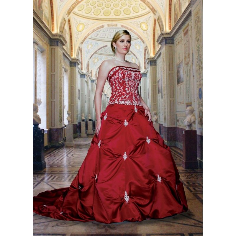 Gorgeous Top Seller Red Colored Plus Size Embroidered Wedding Dress