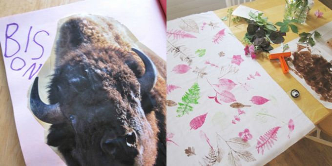10 Nature Art Projects for Kids - Animal Book and Printed Leaves on Fabric