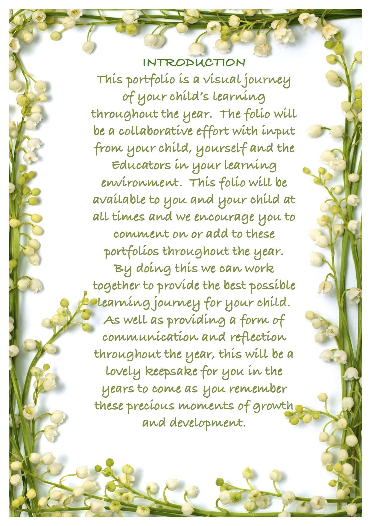 An Introduction Letter We Made Portfolio Template Cd For Families To Help Them Understand The
