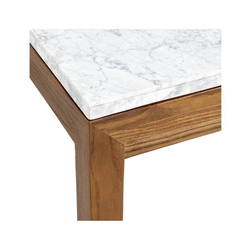 Parsons White Marble Top Elm Base 36x36 Square Coffee Table