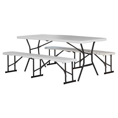 Amazing Lifetime 3 Piece 72 Rectangular Folding Table Set Fold In Pabps2019 Chair Design Images Pabps2019Com