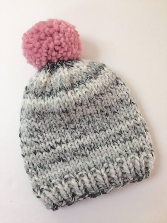 525bf9108c7 Chunky Knit Winter Hat    Knit Baby (0-12 mo) Beanie    Knit Adult ...
