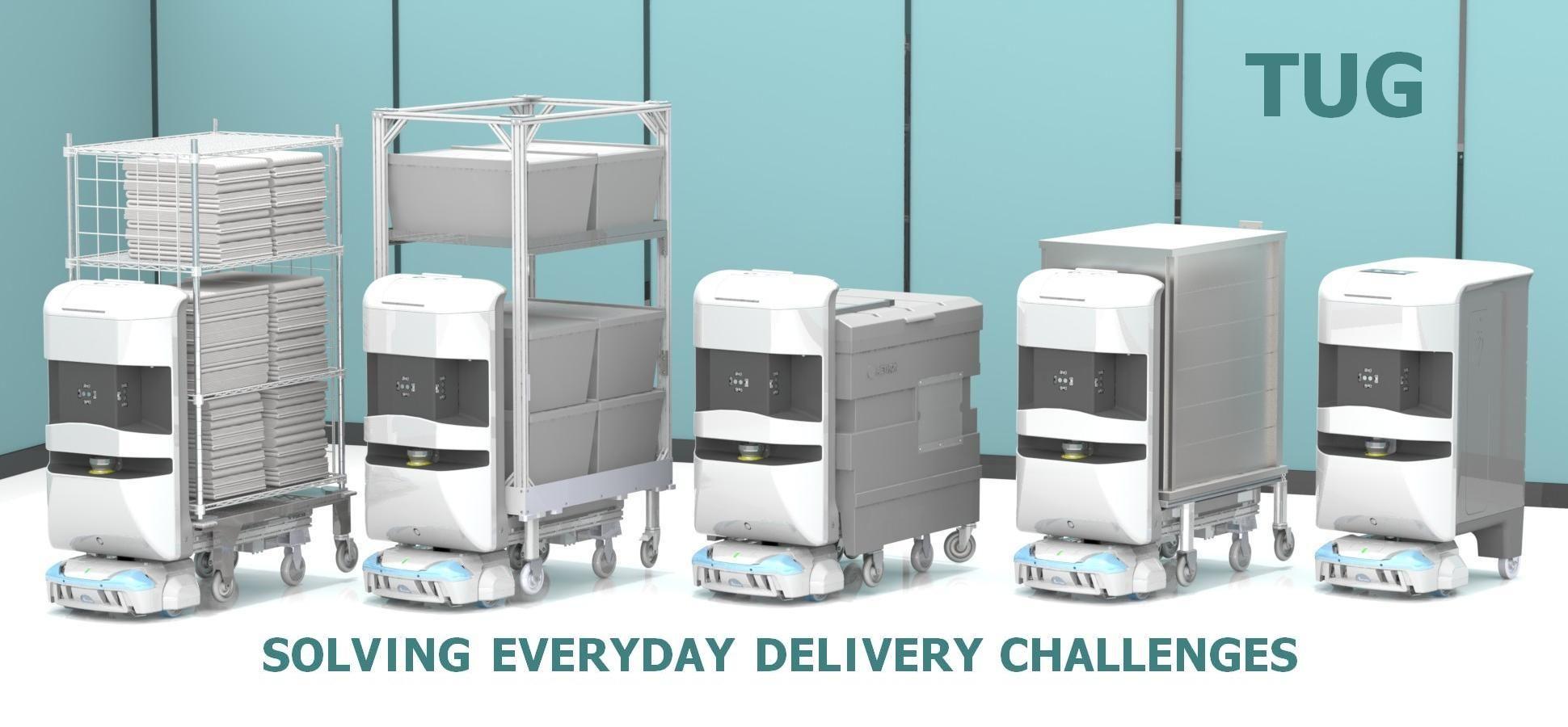 TUG robots used for hospital materials management (med