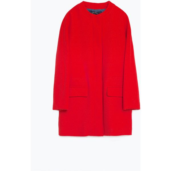 Zara Coat With Kimono Sleeves (575 SEK) ❤ liked on Polyvore featuring outerwear, coats, red, fur-lined coats, zara coat and red coat
