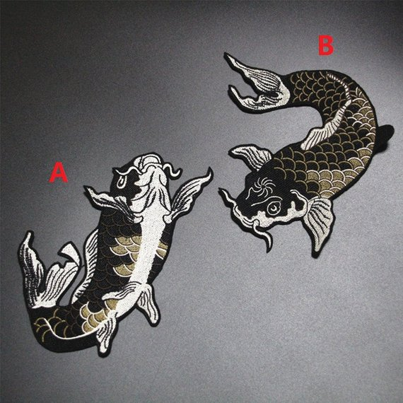 Big Fish Embroidered Iron on Patch Applique Fabric Sticker DIY Clothes Accessory