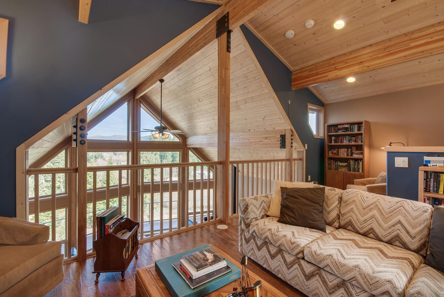Loft with vaulted ceiling and tongue and groove ceiling ...