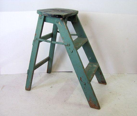Vintage step ladder // painted wood // by dirtybirdiesvintage, $40.00