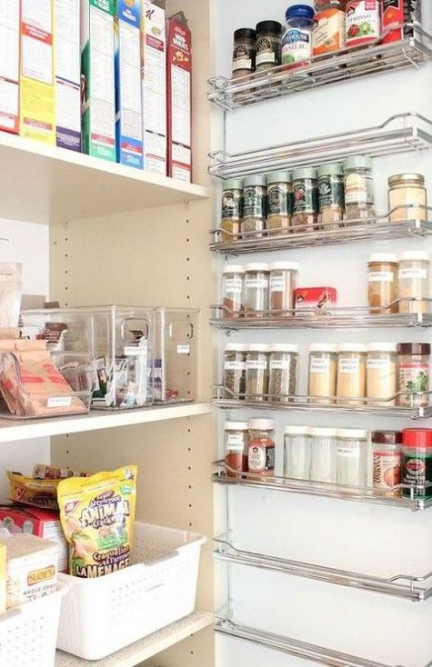 Beautiful Pantry Organization Tips, Closet, Kitchen Design, Organizing, A Wall Spice  Rack Is A Great Way To Use Up Unused Space