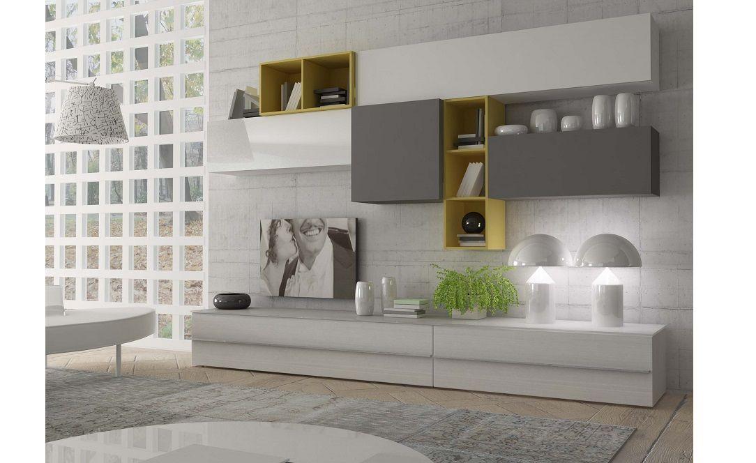 Parete Soggiorno Lugano bianco grigio giallo  Conforama