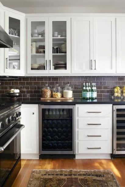 Subway Tile Ideas On A Kitchen Backsplash Love The Chocolate Brown With Black Granite And
