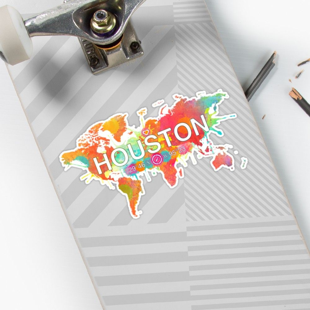 Houston Texas Multicolour World Map   Stickers in 2019   Map