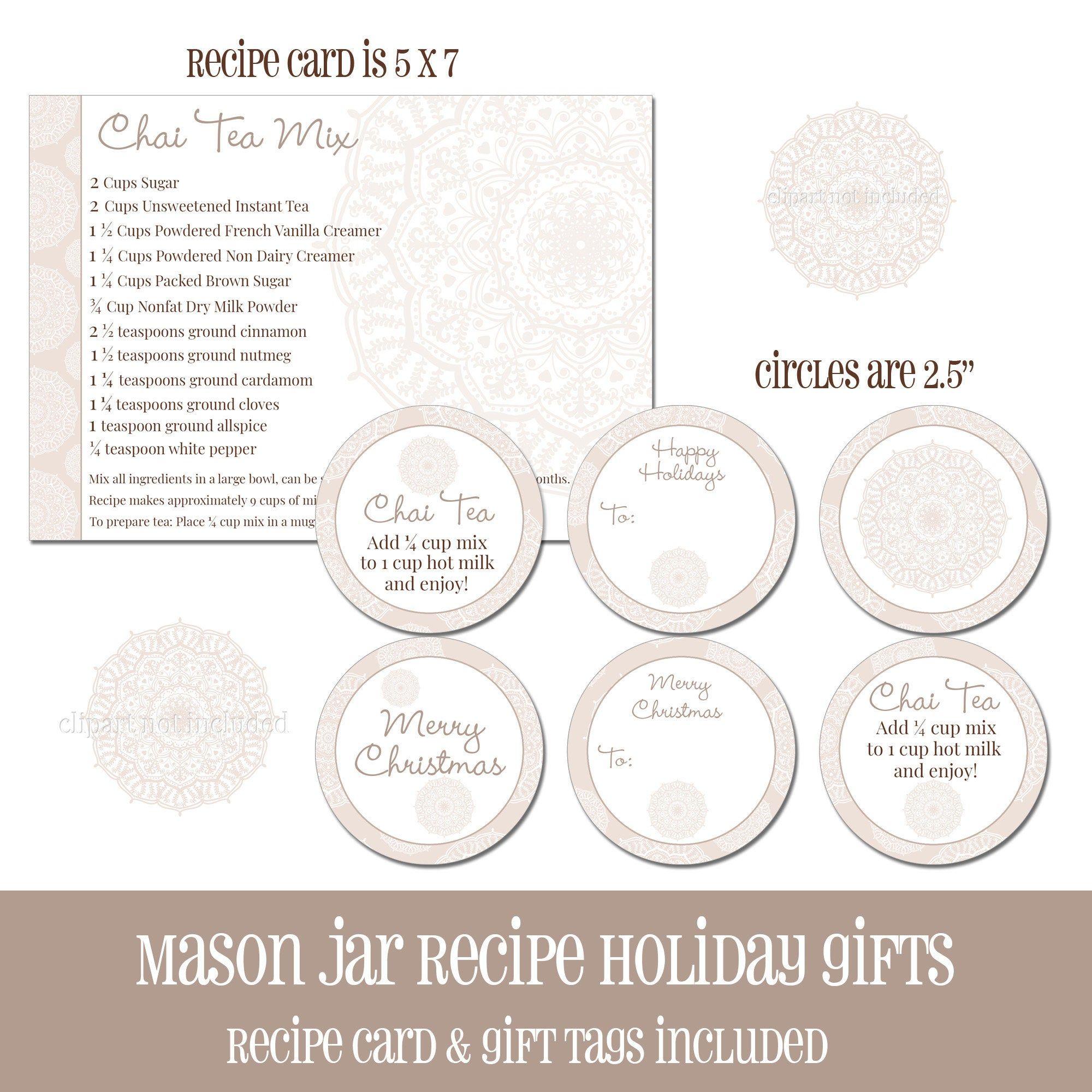 Digital Printable Holiday Jar Recipe Cards And Gift Tags