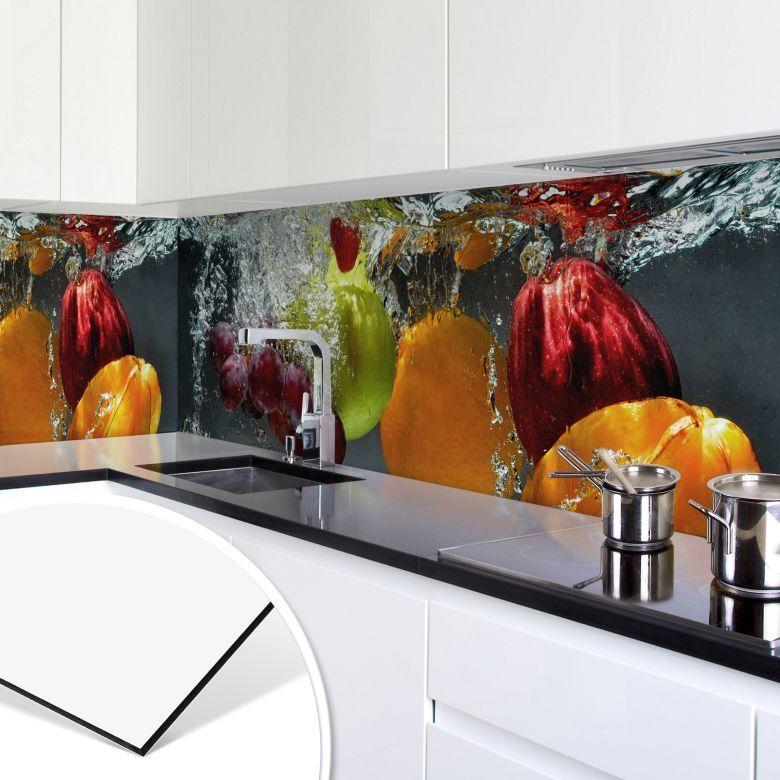 Keukenachterwand - Alu-Dibond Zilver - Verfrissend Fruit - kitchen ...