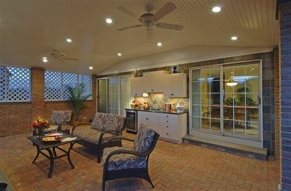 Outdoor Cabinetry with Black Galaxy granite countertops and undercounter beverage refrigerator