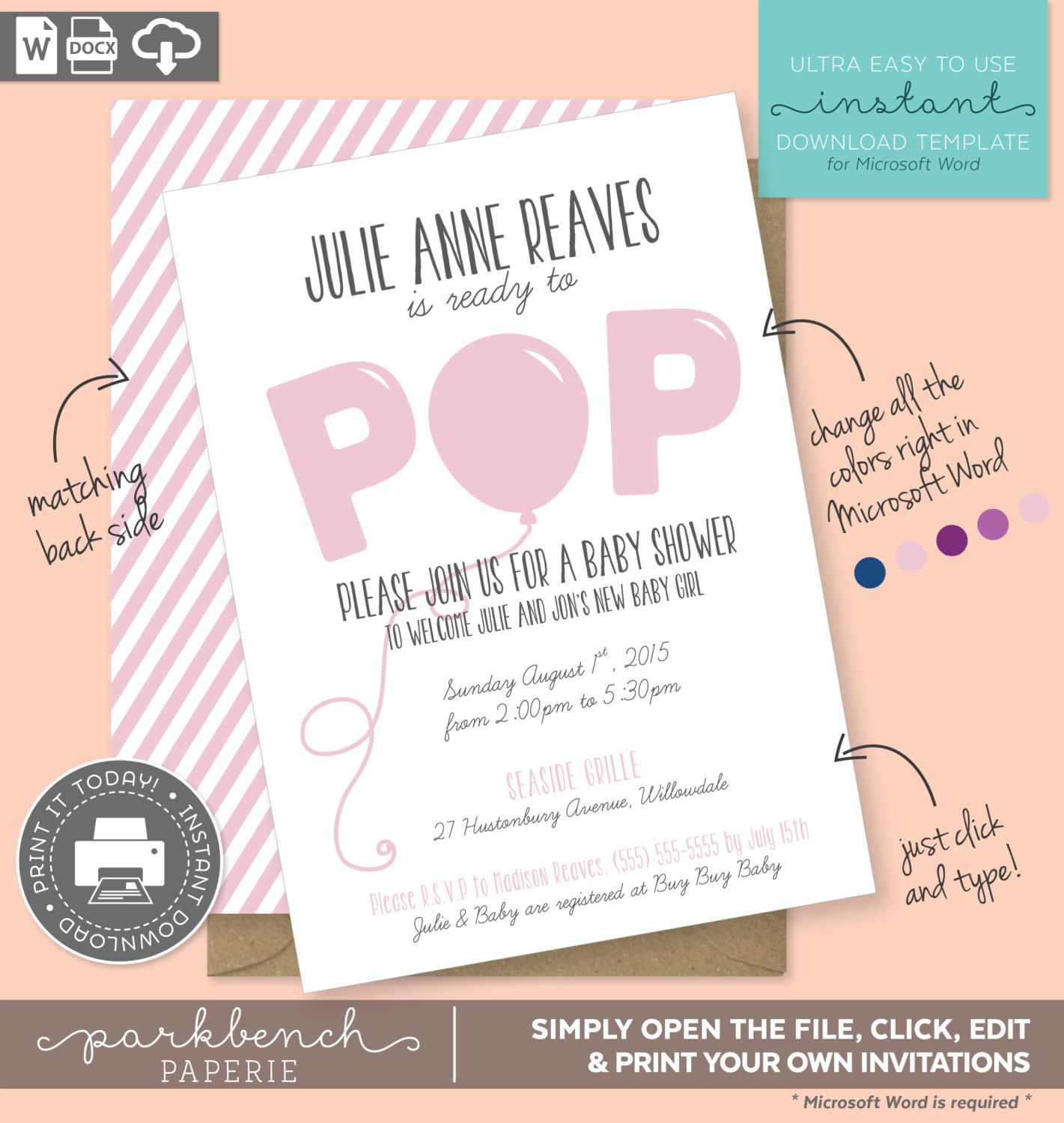 Baby Shower Invitations For Word Templates Inspiration Baby Shower Invitation Printable Template For Microsoft Word  Julie .