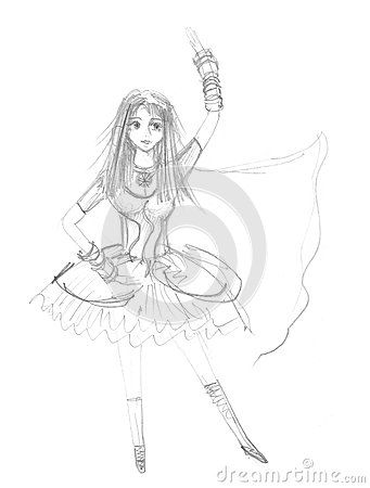 Cute dancing girl childish pencil drawing