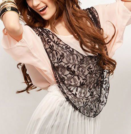 Lace Free Patchwork Long Sleeved Chiffon Shirt