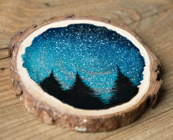 Watercolor Wood Slice Galaxy Forest Dawn Trees Stars Night Etsy Watercolor On Wood Wood Slices Wood Slice Art