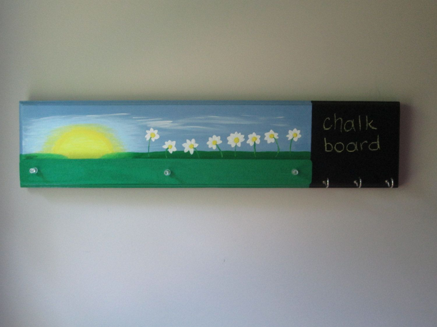Hand painted wall hook with cork strip and chalkboard - entryway ...
