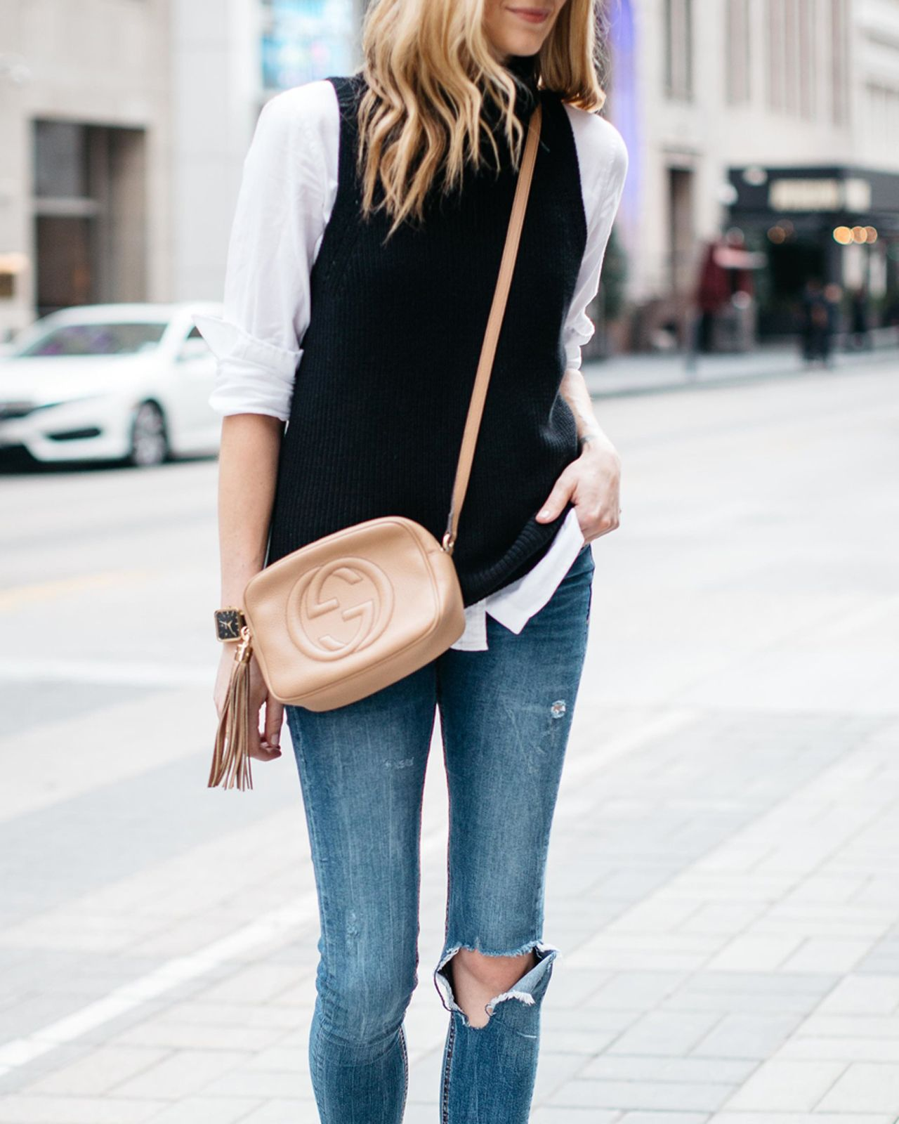 Fall Outfit, Winter Outfit, White Button Down Shirt, Black ...