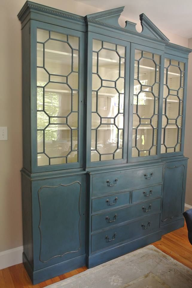 A Gorgeous China Cabinet Finished In Aubusson Blue Chalk Paint