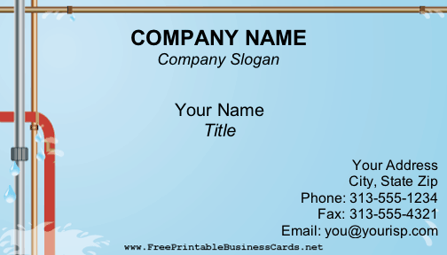 This Business Card Template Shows Leaking Pipes On A Blue Background Plumber Or Other