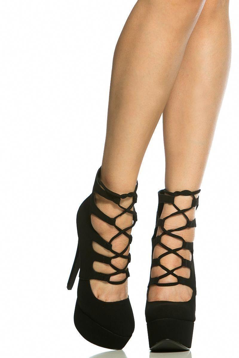 271d29df6ed Black Faux Nubuck Lace Up Platform Heels   Cicihot Heel Shoes online store  sales Stiletto Heel Shoes
