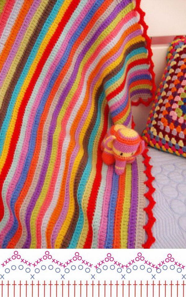 Lovely Crochet Edging Patterns & Ideas | Manta, Mantas tejidas y ...