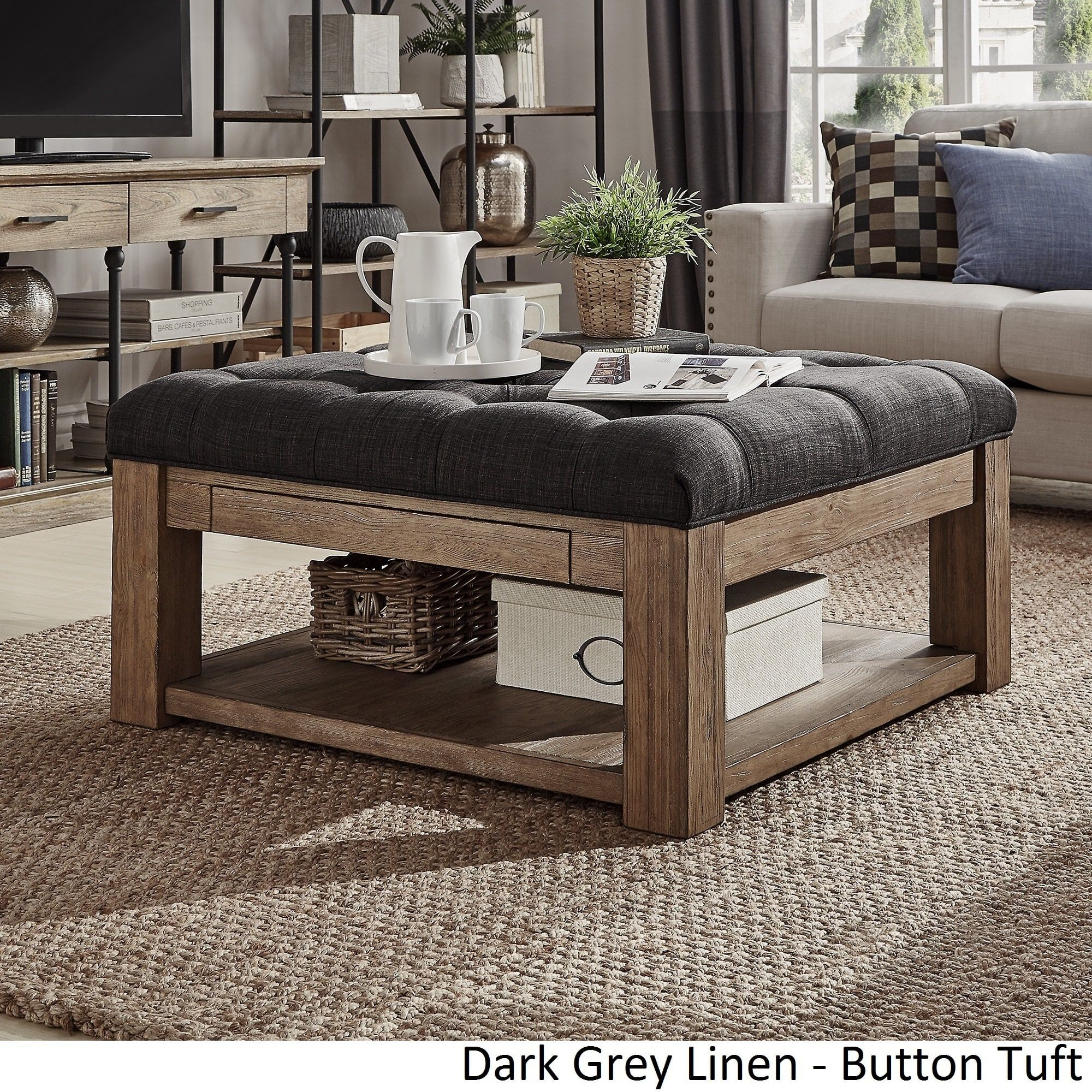 Lennon Pine Square Storage Ottoman Coffee Table By INSPIRE Q Artisan |  Overstock.com Shopping   The Best Deals On Coffee, Sofa U0026 End Tables