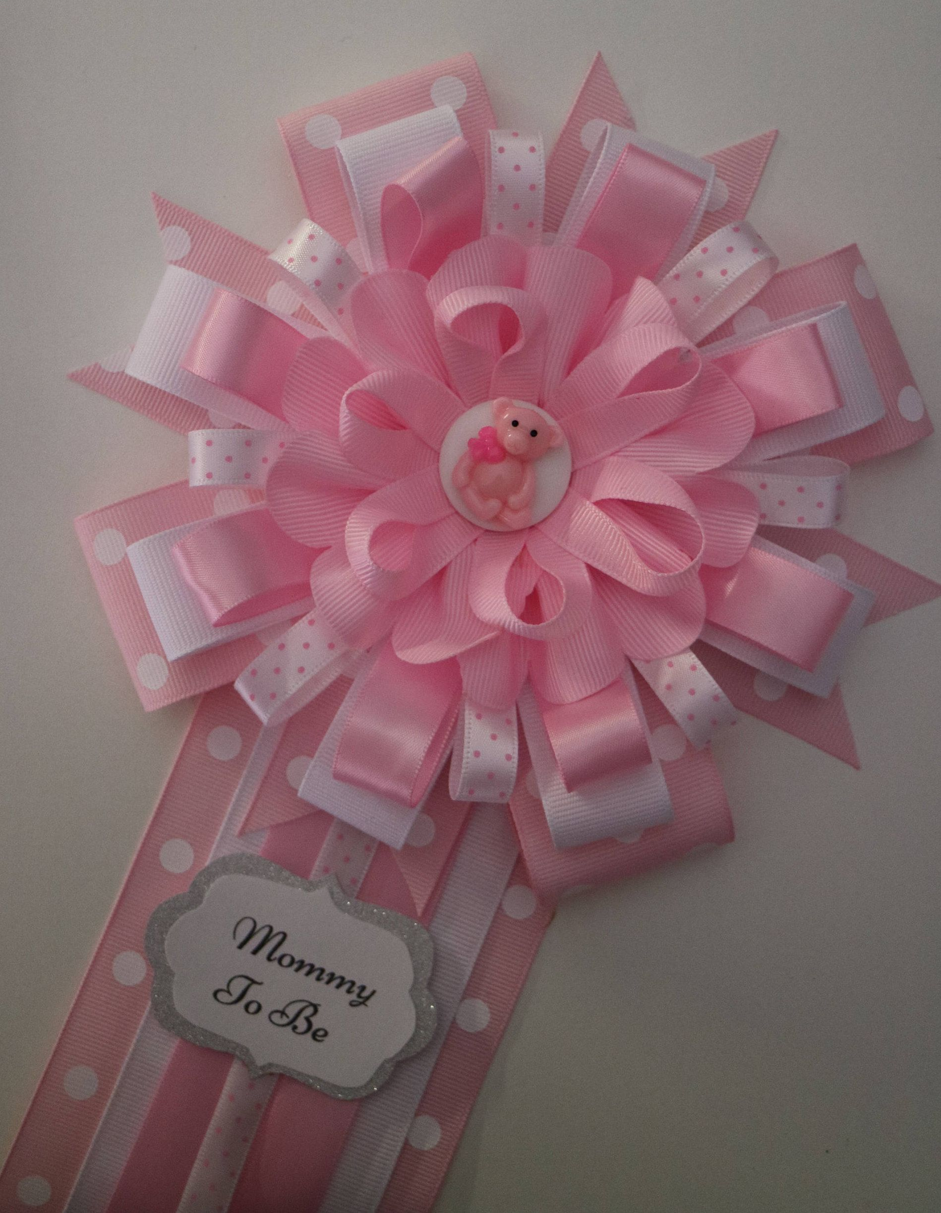 Pink Baby Bear with Bow Baby Shower Mommy to be Corsage by