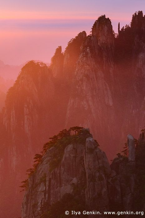 Sunrise from Stone Monkey Gazing Over a Sea of Clouds Lookout  Baiyun Scenic Area, Huangshan (Yellow Mountains), China