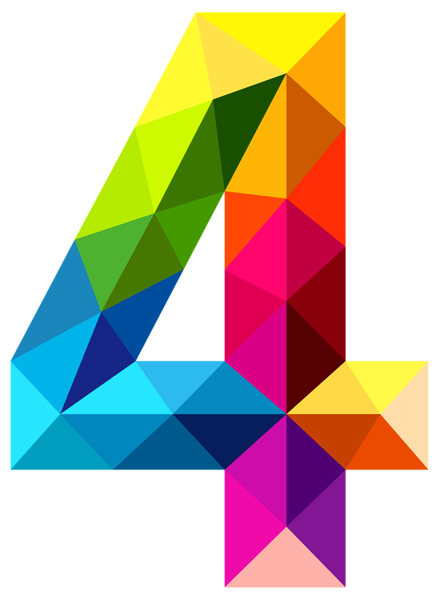 Colourful Triangles Number Four Png Clipart Image Geometric Drawing Free Clip Art Clip Art