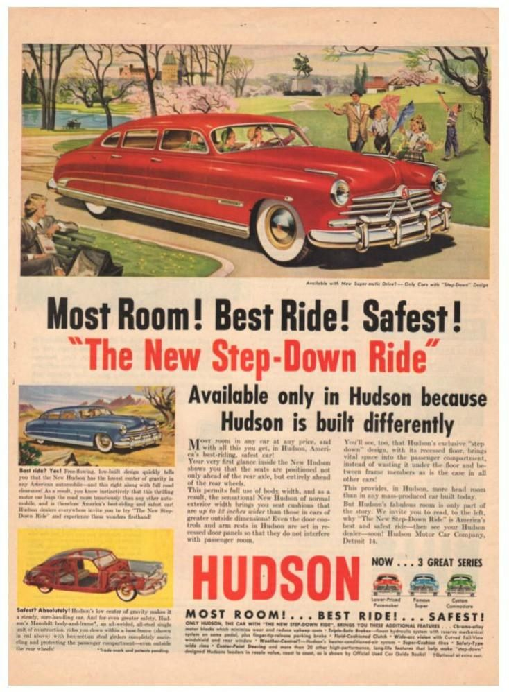 Vintage 1950 Red Hudson Step Down Magazine Print Ad 1950s Automobile ...