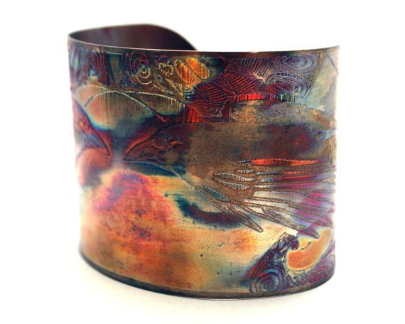 Copper Bracelet flame paint copper The cuff is flame painted with a jewelry torch and covered by a protective coat adjustable