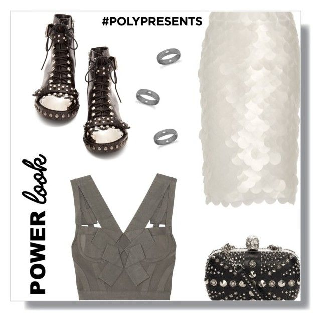 """""""Power Look."""" by peony-and-python ❤ liked on Polyvore featuring Alexander McQueen, Burberry and Hervé Léger"""