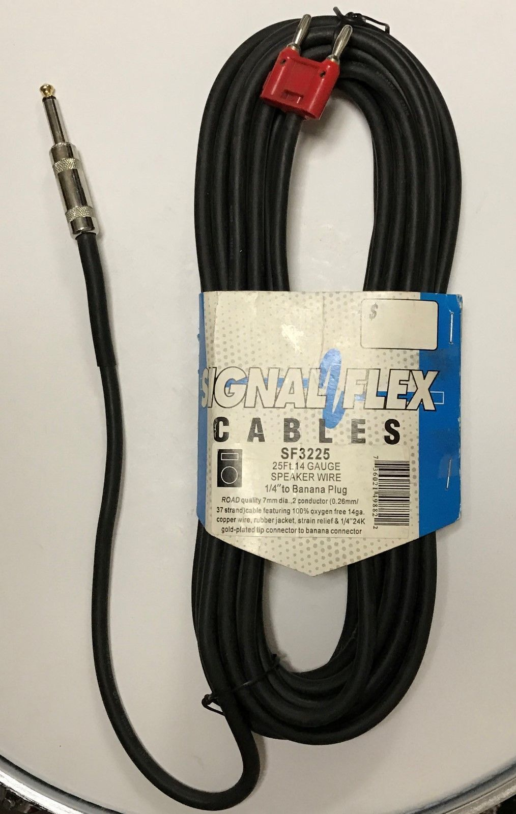 New Signal Flex 25 Foot 1 4 To Dual Banana Plugs 14 Gauge Speaker Cable Cord