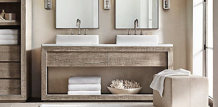 Reclaimed Russian Oak Vessel Washstand Bath Collection - Grey ...