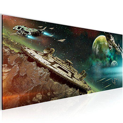 Bilder Kinder Weltall Raumschiff Wandbild 100 x 40 cm Vlies