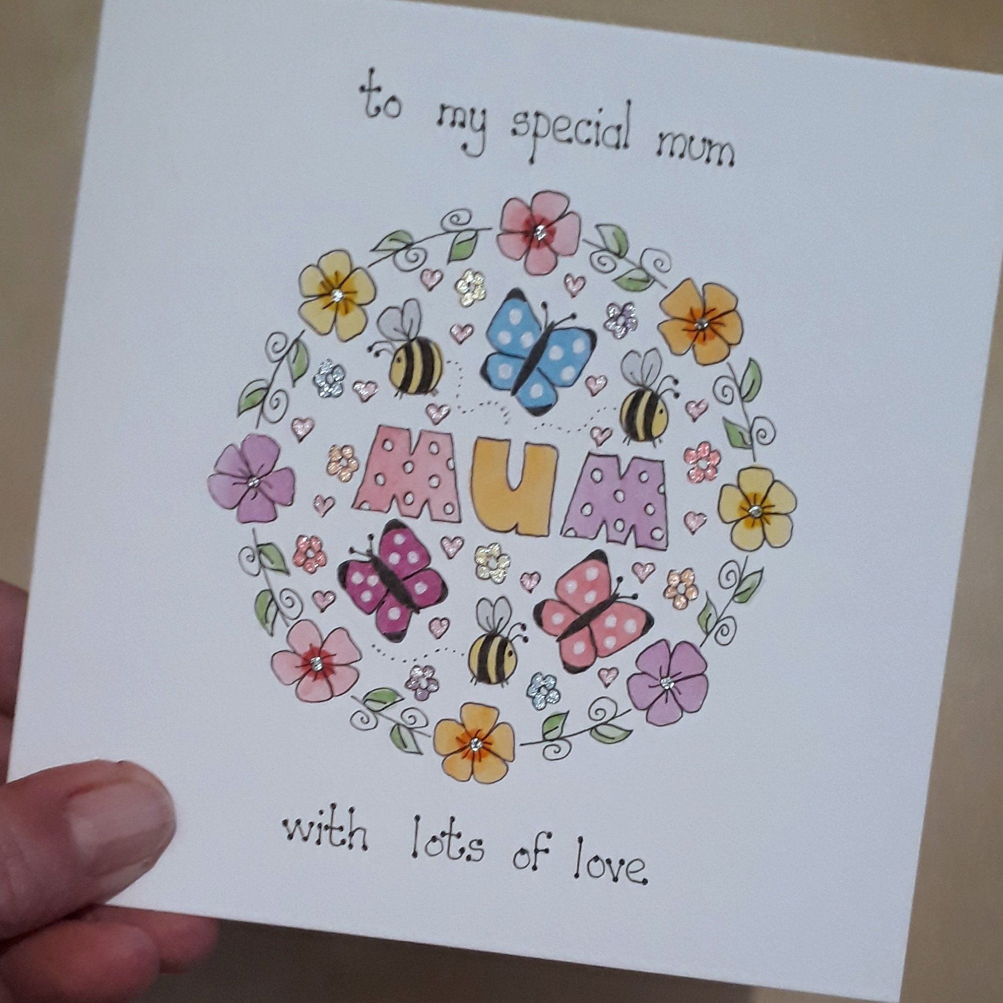Hand Painted Mothers Day Card Handmade Card For Mum Floral Etsy Birthday Cards For Mom Birthday Cards For Mother Diy Birthday Cards For Mom