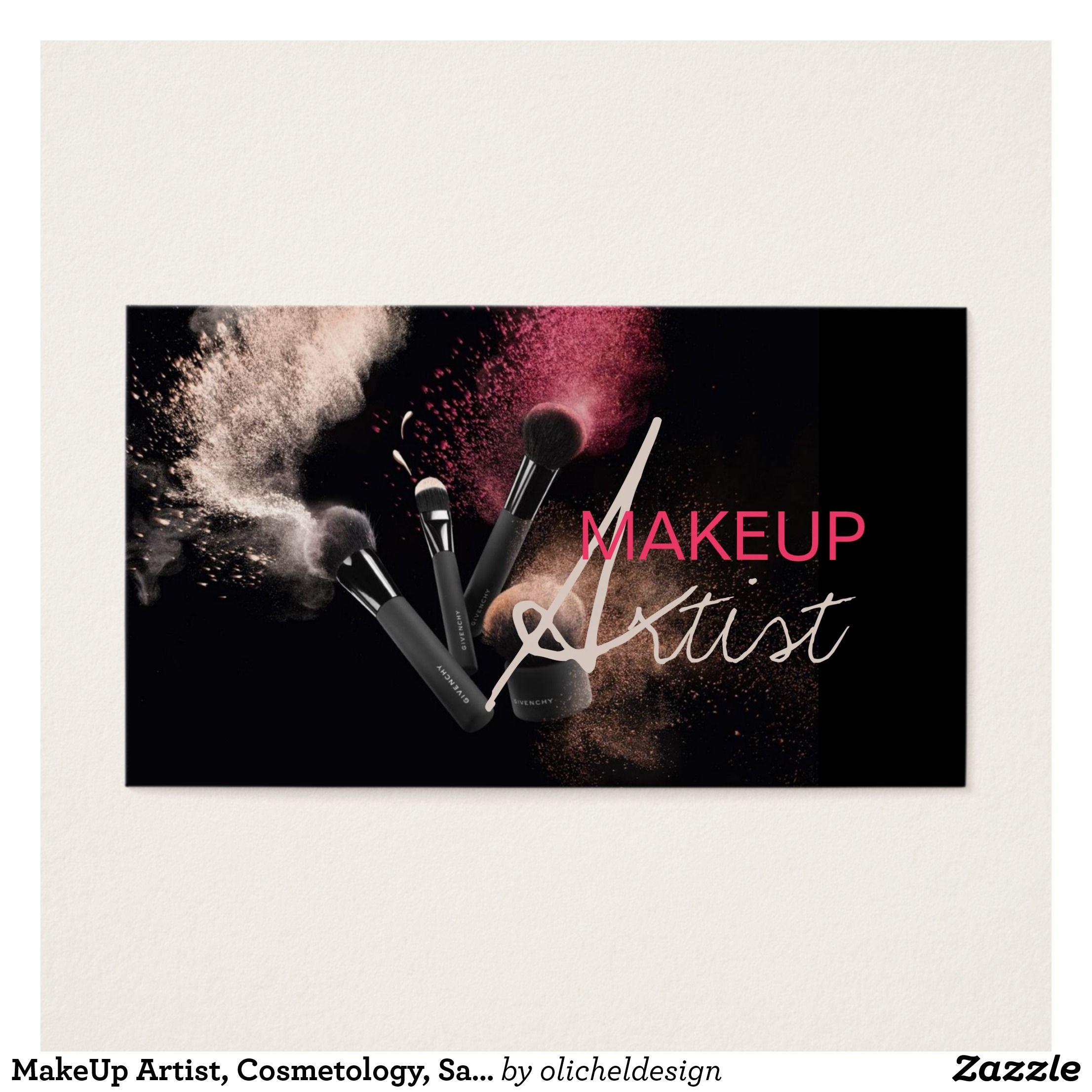 MakeUp Artist, Cosmetology, Salon Business Card | Beauty blender ...