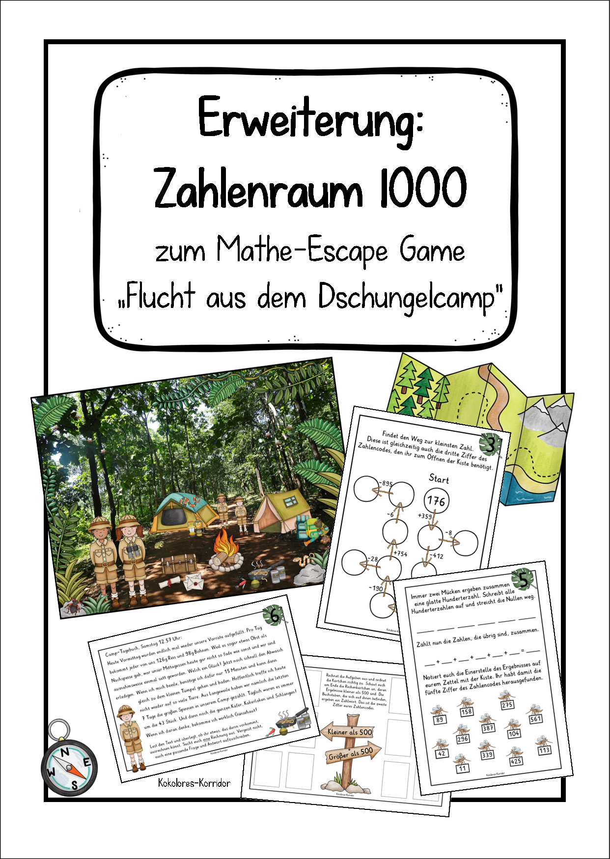 """Expansión: Rango de números 1000 para el juego de escape matemático """"Escape from the jungle camp"""""""