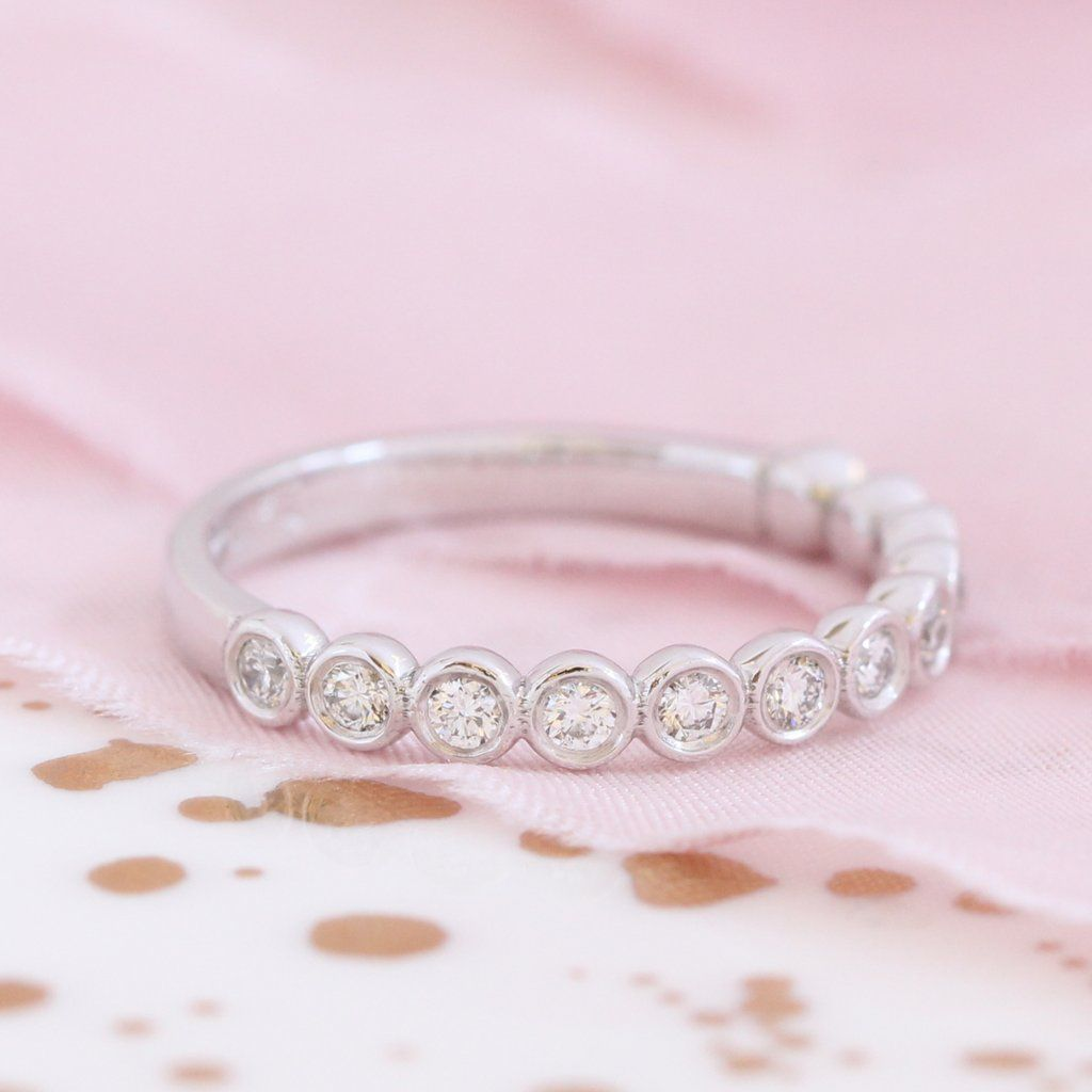 Bezel Diamond Wedding Ring in White Gold Half Eternity Band (0.35 ct ...