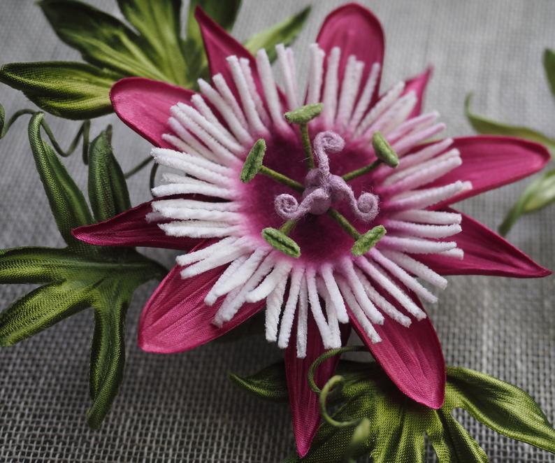 Silk Passiflora Jewellery Silk Passion Flower Brooch Fabric Etsy Flower Brooch Passion Flower Fabric Flower Brooch