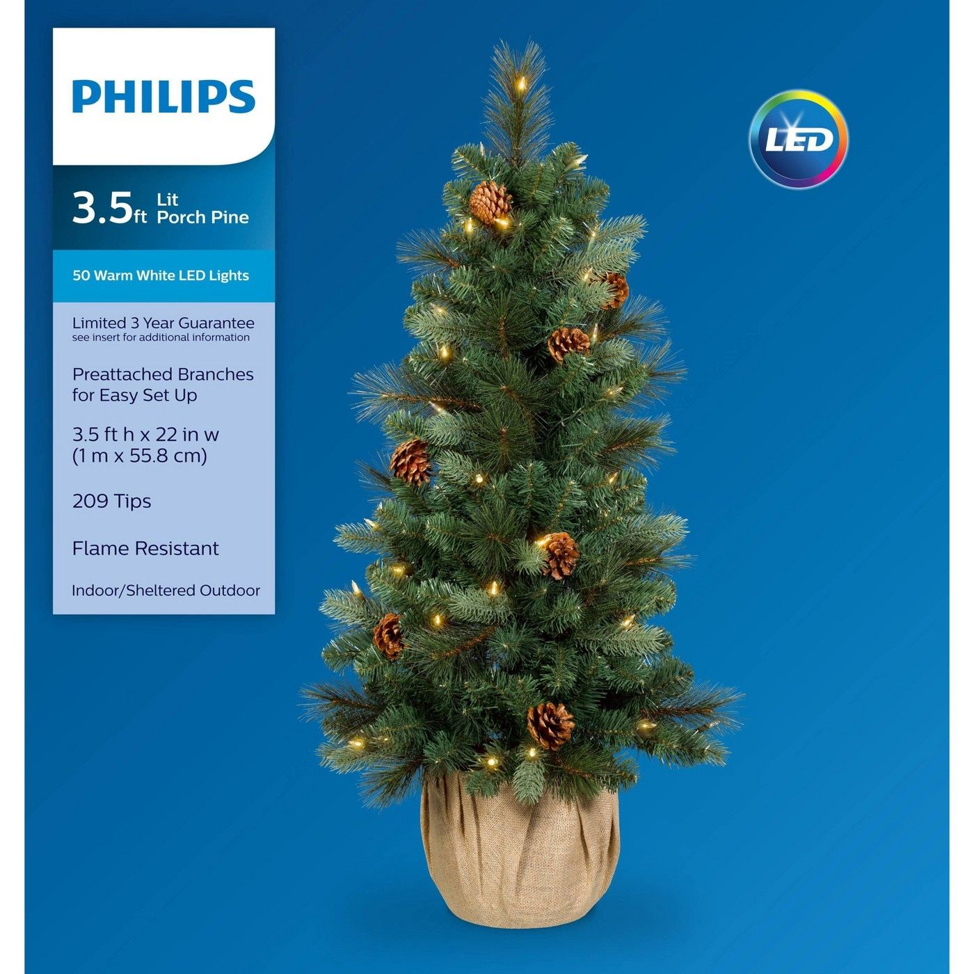Philips 3.5ft Prelit Slim Artificial Christmas Tree