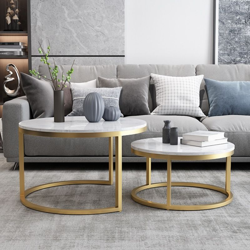 Nordic Style Coffee Table Gold Metal White Marble Living Room Accent Table With Round Top Set Of 2 Living Room Accent Tables Table Decor Living Room Living Room Table Sets