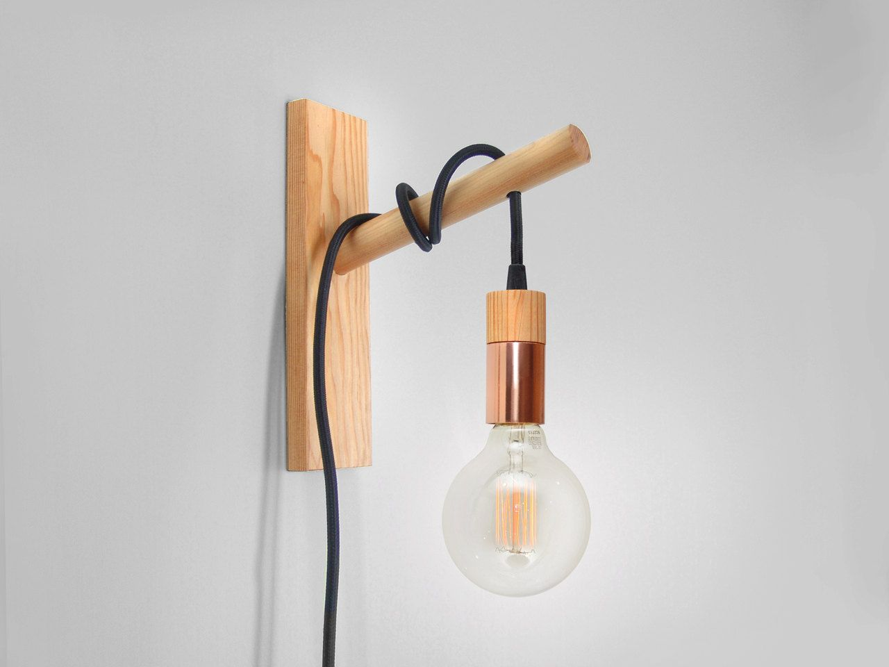 Copa wall sconce handcrafted pendant light made of copper and wood