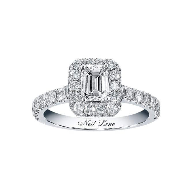 Exceptionnel Neil Lane Bridal For Kay Jewelers Style 940232818 Emerald Cut Diamond  Engagement Ring In White Gold With Round Cut Diamond Accents