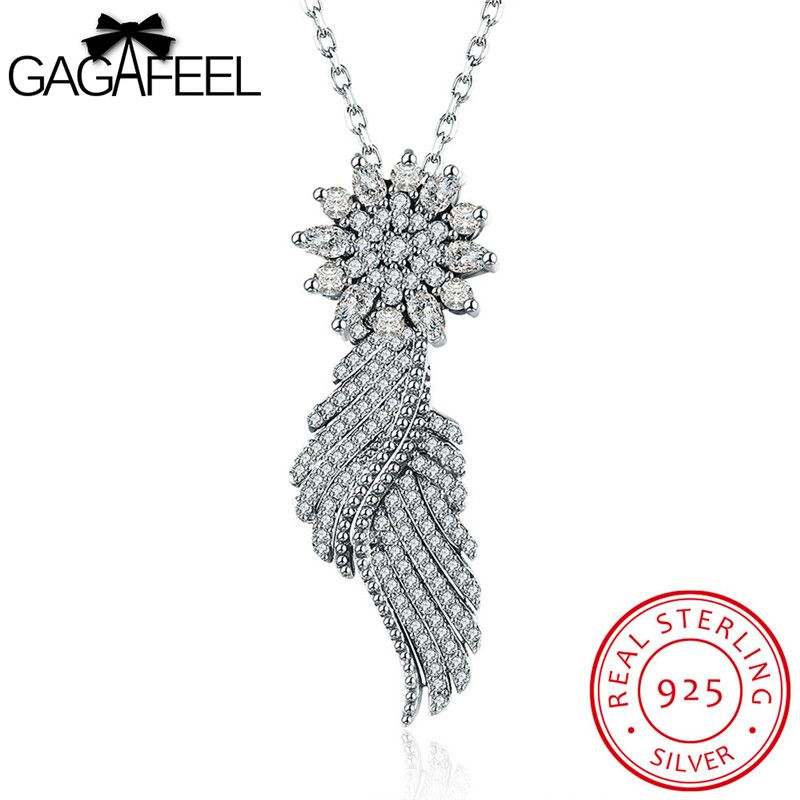 GAGAFEEL Angel Wing Necklace 925 Sterling Silver Fine Jewelry Clear CZ Feather Pendant Women 60+5CM Length Chain Dropshipping #Affiliate